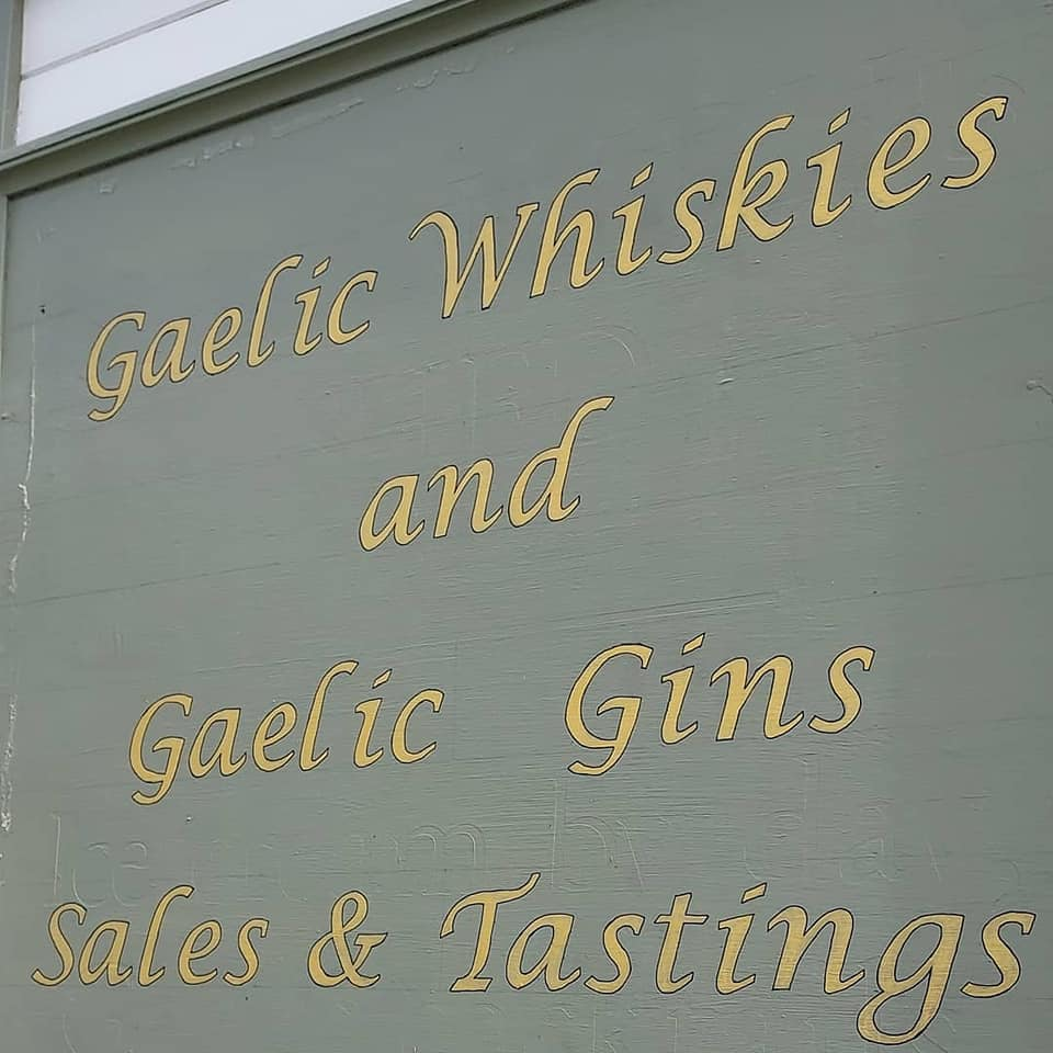 Gaelic Whisky and Gaelic Gin sales and tasting sign